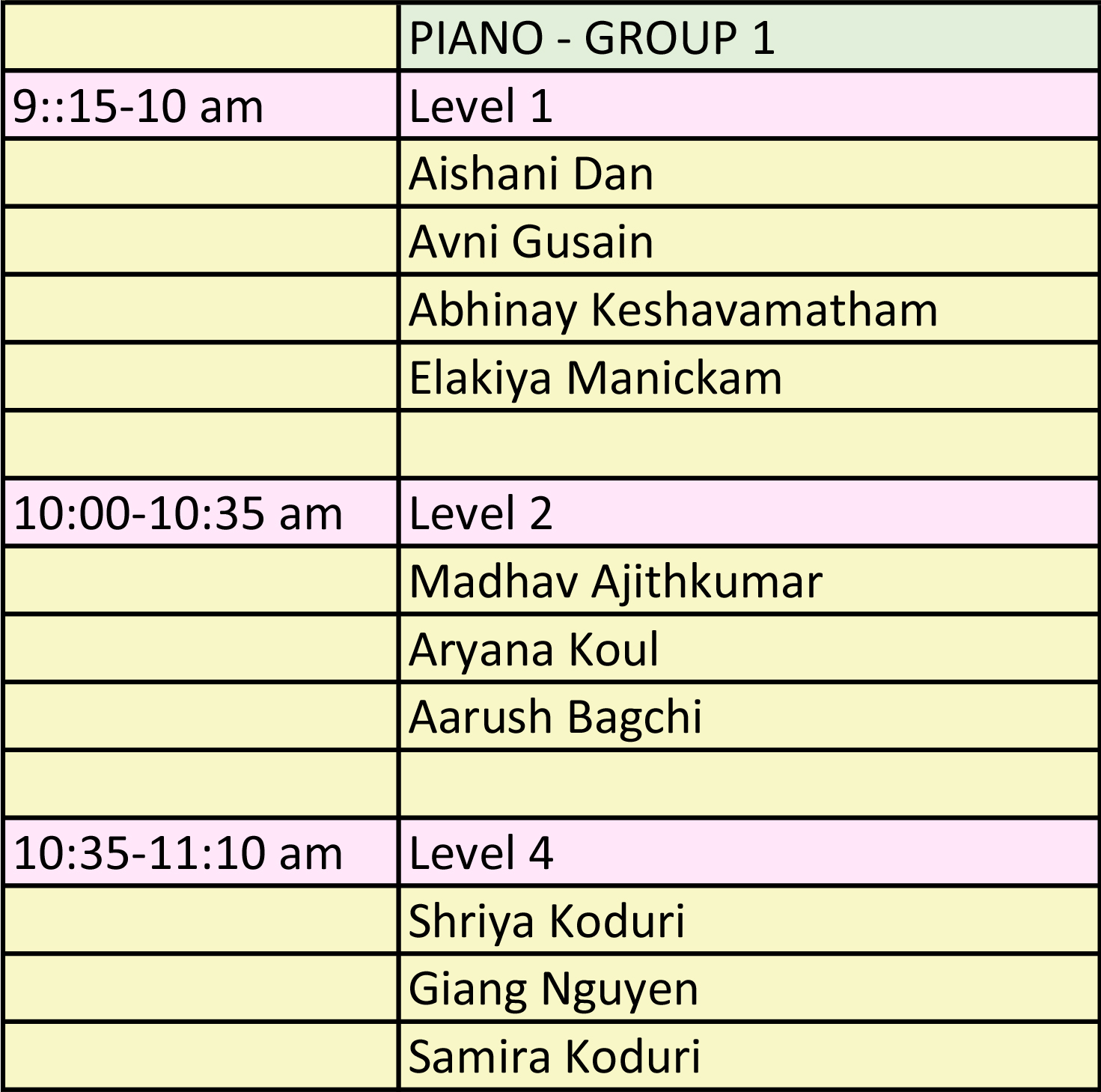 Illinois Music Society Competition Schedule Piano Group One